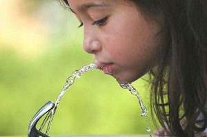 drinking water fountain girl